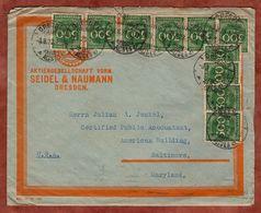 Vordruckbrief, Ziffer, Dresden Nach Baltimore 1923 (90503) - Covers & Documents