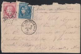 Boule De Moulins Oblitéré Saint-Genies-Le-Bas Pour Paris - Certificat - 1870 Emission De Bordeaux