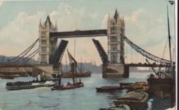 AM15 London, Tower Bridge - Open With Boats, Raphael Tuck Postcard - River Thames