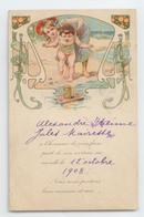 CPA 1908 FAIRE PART NAISSANCE ILLUSTRATEUR BEBE ART NOUVEAU DECO PUBLICITE BE - Bébés