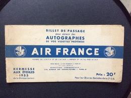 AIR FRANCE KERMESSE AIX ÉTOILES 1953 Autographes DADZU P.JOURDAN O.DEMAZIS CH.VANEL J.RICHARD ANDREX  Etc... - Autographs