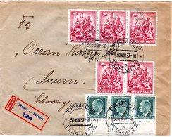Tschechoslowakei 1937, 8 Marken Auf Einschreiben Brief V. TRMICE I.d. Schweiz - Tschechoslowakei/CSSR