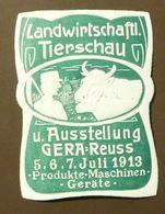 Werbemarke Cinderella Poster Stamp  Landwirtschaft Tierschau Gera Kuh 1913 #37 - Vignetten (Erinnophilie)