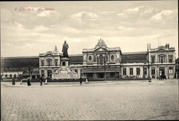 Cp Louvain Leuven Flämisch Brabant, La Station, Bahnhof, Straßenansicht - Belgique