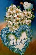 CPA  Gaufree SAINT VALENTIN COEUR Myosotis , EGLANTINE , 1909 Fond Doré, TO MY  VALENTINE  EMBOSSED OLD PC - Saint-Valentin