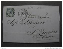 """2478 ITALIA Regno-1865- """"Effigie V. E. II Sopr."""" C. 20 Su 15 FIRENZE>SAN QUIRICO D'ORCIA (descrizione) - Poststempel"""