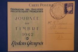387 FRANCE CARTE 1942 JOURNEE TIMBRE POUR CANNES MARECHAL PETAIN AFFRANCHISSEMENT PLAISANT - France