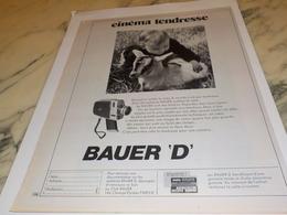 ANCIENNE PUBLICITE CINEMA TENDRESSE CAMERA  BAUER 1971 - Autres