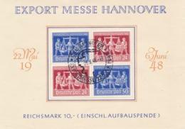 Deutsche Post - 1948 - 4-Block Export Messe Hannover On Special Leaflet - Amerikaanse, Britse-en Russische Zone