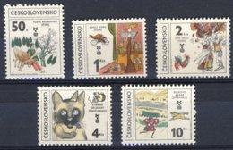 """1981-(MNH=**) Cecoslovacchia S.5v.""""libri Per Bambini, Gatto, Cavallo, Bovino, Gallo"""" - Cecoslovacchia"""