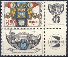 1974-(MNH=**) Cecoslovacchia 3,60k. Brno Con Appendice - Cecoslovacchia