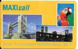 CARTE-PREPAYEE-MAXICALL-50F-USA-EUROPE-LONDRES-NEWYORK-R°GLACE-Platic Epais Glacé-TBE-RARE - France