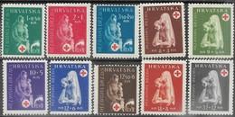 Croatia  1943  Sc#B42-51  Red Cross Set MH  2016 Scott Value $13.40 - Croatie