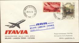 1976- Aerogramma Itavia I Volo Milano Lamezia Catania Del 20 Dicembre - 6. 1946-.. Republic