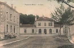 55 Pagny Sur Meuse La Gare Cpa Carte Colorisée Cachet Rond Tireté Oblitération Pagny 1906 - France
