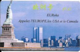 CARTE-PREPAYEE-EUREKA-7,62€-NEW YORK-STATUE LIBERTE-TWIN TOWERS-Exp 12/02-Plastic Fin Glacé- -NEUVE--TBE-RARE - France
