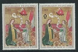 [31] Variété :  N° 1640 Primitif De Savoie Fond Bistre-jaune Au Lieu De Bistre-brun Et Bouche Absente + Normal  ** - Varieties: 1960-69 Mint/hinged