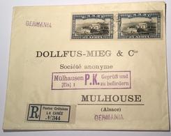 1913 25 L Souda Bay = LAST STAMP OF CRETE Cds LA CANÉE 1914 Registered Cover Censored>Mulhouse(Flag Greece Grèce Lettre - Crète