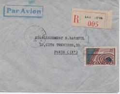 REUNION     LETTRE RECOMMANDEE DE SAINT DENIS POUR PARIS  EN 1947 - Reunion Island (1852-1975)