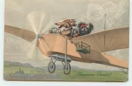 N°14327 - MM Vienne - Heureuse Année - Chiens Pilotant Un Avion - Teckel - Dackel - Neujahr