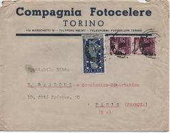 ITALIE       LETTRE  TORINO  PUBLICITE  COMPAGNIA  FOTOCELERE - 1946-.. République