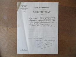 LANDRECIES CERTIFICAT LE MAIRE DU 20 AOÛT 1941 AU SUJET DE CARTES DE RATIONNEMENT - Historische Documenten