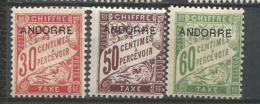 ANDORRE TAXES ANNEE 1931/1932 N°3,4,5 NEUFS* MH - Andorre Français
