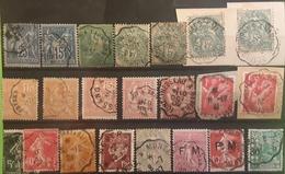 22 Timbres  SAGE, BLANC MOUCHON Semeuse, FM, IRIS, PETAIN,1 Algérie,  Tous Obl Cachets CONVOYEUR STATION / LIGNE - Marcophily (detached Stamps)