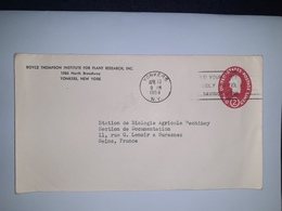 USA  /  Entier  Postal  2 Cents Rouge  /  Cachet  BOYCE THOMPSON Institute à YONKERS N.Y.  ( 1956 ) - Entiers Postaux