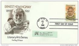 USS30007 USA 1989 Ernest Hemingway- Literary Arts Series FDC - Key West Cancel - Premiers Jours (FDC)