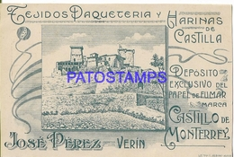 129023 SPAIN ESPAÑA VERIN ORENSE PUBLICITY TEJIDO PAQUETERIA Y HARINAS DE CASTILLA POSTAL POSTCARD - Sin Clasificación