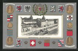 Präge-AK Bettembourg, La Gare, Monument Dickx-Leutz, Wilhelm II., L'Aigle Romaine - Non Classificati