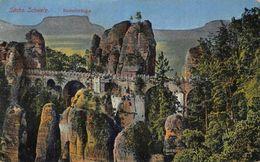 Sachs Schweiz Basteibrucke Bastei Bridge Panorama Postcard - Duitsland