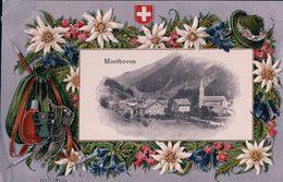 Montbovon, Sac De Montagne, Piolet Et Edelweiss, Litho Gaufrée (14358) Plis D'angles - FR Fribourg