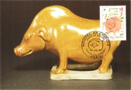 Carte Maximum YT 4001 L'année Du Cochon, Horoscope Chinois, 1er Jour 27 01 2007 Paris 75 Parfait état, Nouvel An Chinois - Cartoline Maximum