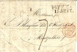 1842- Lettre De NIZZA  ( Royaume De Sardaigne ) Taxe 7 D Pour Montpellier -entrée SARDAIGNE / ANTIBES  Rouge - Storia Postale
