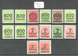 ALL Mi 301A/312A + 309BP + 312B YT 273/284 + 289/290 En XX - Unused Stamps