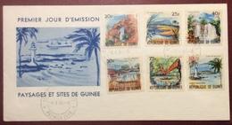 AFGU5-1 Guinée Paysages Et Sites FDC Premier Jour 4/4/1966 Lettre 6 Timbres - Guinea (1958-...)