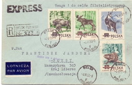 POLAND  AIR MAIL EXPRESS REGISTRED MAIL COVER 1953  2 PIECES FANTASTIC BIELSK   (FEB200148) - Selvaggina