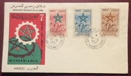 AFMAR1-1 Maroc Poste Aérienne 103 104 105 Foire Casablanca 14/5/1957 Lettre 3 Timbres - Morocco (1956-...)