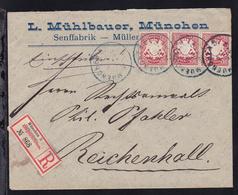 Wappen 10 Pfg. 3x Auf Firmen-R-Brief (L. Mühlbauer, München) Mit K1 MUENCHEN 5 - Bavaria