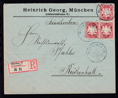 Wappen 10 Pfg. 3x Auf Firmen-R-Brief (Heinrich Georg, München) Mit K1 MUENCHEN  - Bavaria