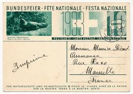 SUISSE - Carte Postale (Entier) - Fête Nationale 1933 - Pour Le Visage Aimé De La Patrie - Entiers Postaux