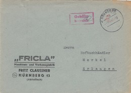 Brief Nürnberg 1945, Gebühr Bezahlt Nach Erlangen - Allemagne