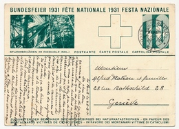 SUISSE - Carte Postale (Entier) - Fête Nationale 1931 - En Faveur Des Montagnards... - Entiers Postaux