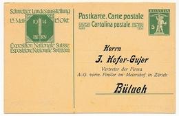 SUISSE - Carte Postale (Entier) - Exposition Nationale Suisse 1914 - Avec Repiquage D'adresse - Entiers Postaux