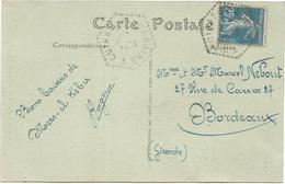 SEMEUSE 25C C. HEX PERLE CUIRASSE LORRAINE 7.6.27 CARTE ALGERIE - 1906-38 Semeuse Camée