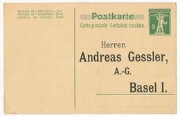 SUISSE - Carte Postale (Entier) - Repiquage Andréas Gessler, Bâle Sur CP 5c - Entiers Postaux