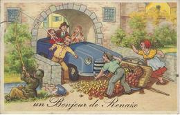 Un Bonjour De RENAIX (RONSE) Très Belle Carte Fantaisie (animée, Pêcheur, Voiture, Fruits, ...) - Renaix - Ronse