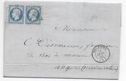 ARDENNES - 1855 - LETTRE De VOUZIERS Avec T15 + PC 3683 - PAIRE EMPIRE TB - 1849-1876: Classic Period